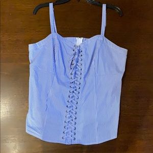 White and Blue Stripped Corset Top